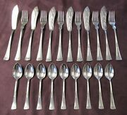 Antique German 21 Pc Art Deco Silverplate Fish Set And Coffee Spns Reduced 20