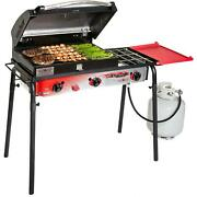 Big Gas Grill 3-burner Outdoor Stove With Removable Bbq Grill Box Accessory