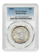 1838 50c Pcgs Ms62 Reeded Edge Great Type Coin - Bust Half Dollar