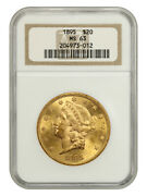 1895 20 Ngc Ms63 - Liberty Double Eagle - Gold Coin