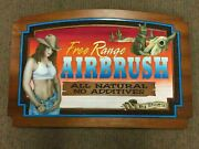 K Vintage Western Coyote Cow Crop Top Girl Airbrush Business Advertising Sign