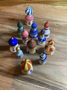 Russian Wooden Building Domes Christmas Ornaments Set Of 12 From 2andrdquo To 3.25andrdquo