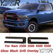 For 2019-2021 Ram 2500 3500 4500 5500 Front Grill Cover Trim Overlay Gloss Black