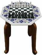 Marble White Top Chess Set With Wooden Stand Inlaid Mosaic Art Indoor Game Gifts