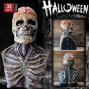 Halloween Scary Skull Mask Full Head Skeleton Biochemical Moving Jaw Party Props