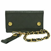 Bi-fold Wallet Chain Compact Razor Black Vintage Gold Fittings Womenand039s