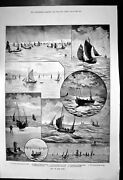 Original Old Antique Print Out On Deep Hastings Boats Fishing Grounds Nets 1889