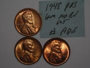 Wheat Penny 1948p,1948-d,1948-s Red Bu Set 1948,1948d,1948s Lot Unc Lincoln Cent