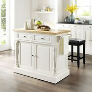 Oxford Butcher Block Top Kitchen Island In White Finish With White