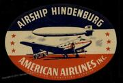 Germany 1937 Usa American Airlines Hindenburg Zeppelin Mnh Luggage Label 86705