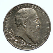 1902 Germany German State Baden King Friedrich I Antique Silver 2 Mk Coin I96242