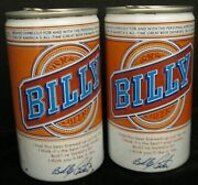 Lot Of 2 Billy Beer Cans Billy Wide Orange Seam Straight Steel Billy Carter Cans