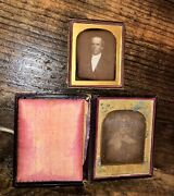Two Daguerreotypes 1840s 1850s 1/4 Plate Painting + Sealed 1/6 Plate Of A Man