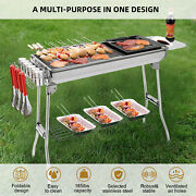 Ikayaa Stainless Steel Barbecue Charcoal Grill Kabob Bbq Grill W/frying Pan F5o8
