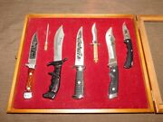 Vintage 6 Knife Collection In Wood Display Case