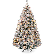 Best Choice Products 6ft Pre-lit Holiday Christmas Pine Tree W/ Snow Flocked Bra