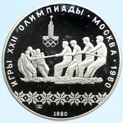 1980 Moscow Russia Olympics 1980 Russian Tug Of War Proof Silver 10r Coin I96309