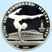 1980 Moscow Russia Olympics Vintage Gymnastics Proof Silver 5 Rouble Coin I96341
