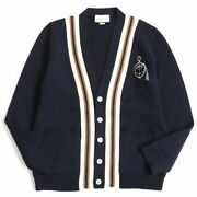 545764 Anchor Crest Line Design Knit Cardigan Navy Made In Italy Mens