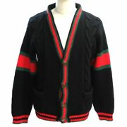 Cable Knit Cardigan Sherry Line Mens Gg Button Kering Japan Black 497037