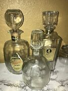 Lot Of 3 Vintage Glass Whiskey/liquor Bottles Decanters With Glass Top And Cork