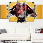 Design Art 'angry Bull' Canvas Art Print - 60wx32h Inches - Oversized