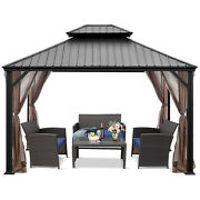 Patiojoy 12and039 X 10and039 Hardtop Gazebo 2-tier Outdoor Galvanized Steel Canopy Brown