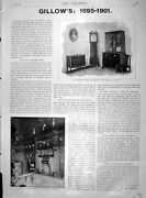 Original Old Antique Print 1901 Gillows English Furniture Hall Country Mansion