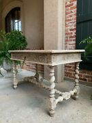 Antique French Bleached Carved Oak Sofa Table Desk Barley Twist Louis Xiii