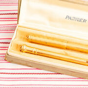 Vintage Parker Lucky Curve Gold Filled Overlay Fountain Pen Pencil Boxset Minty