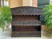Large Antique English Carved Oak Wall Shelf Plate Dome Display Rack 19th C
