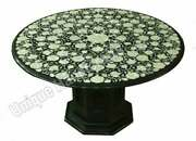 Black Marble Round Dining Table Top With Stand Mop Inlay Floral Fine Work Decor