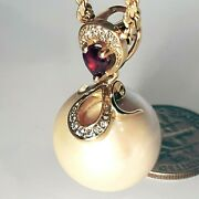 5000 Designer Gold Pendant With Huge Round Pearl Ruby Diamonds. Watch Video
