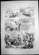 Old Antique Print Adventures Zululand Setting Fire Kraal Falls Horse 1879 19th