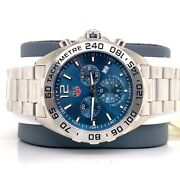 New Tag Heuer Formula 1 Caz101k Stainless Steel Chronograph Blue Dial Complete