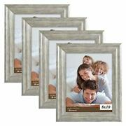 Picture Frames 8x10 Silver Grey Set Of 4 Pack - Rustic Farmhouse Wooden Frame...