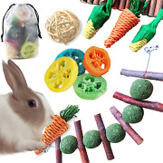 Epessa 9 Pack Rabbit Chew Toys Set With Storage Bag, Natural Bunny Toys For Dent
