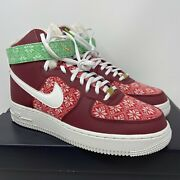 Nike Air Force 1 High 07 Nordic Christmas Sweater Shoes Mens 8.5 Dc1620-600 Af1