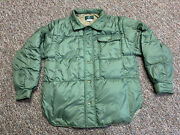 Vintage Orvis Goose Down Quilted Puffer Jacket Mens Medium Green Button Up