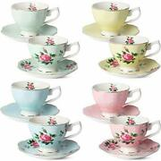 Btat- Floral Tea Cups And Saucers Set Of 8 8 Oz Multi-color With Gold Trim An...
