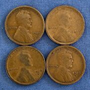 Lot Of 4 1912d 1915s 1916d 1917 Lincoln Wheat Cents From Penny Collection A17