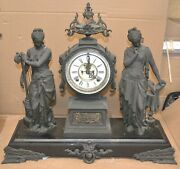 Antique Ansonia Poetry And Music Figural Double Statue Mantel Clock