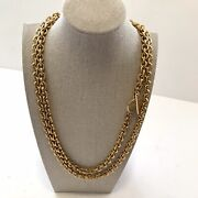 Carolee Vintage Runway Gold Tone Rope Necklace Chunky Hammered Rolo Style 48