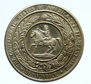 1960and039s Usa Confederate States And Horse Old Vintage Fantasy Silver Medal I96445