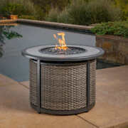 Fire Pit Table Tile Tabletop Cover All Weather Wicker Push Button Ignitor