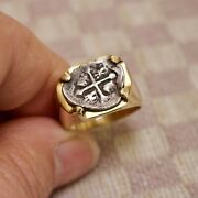 Authentic 1/2 Reales Treasure Cob Coin Set In 18k Yellow Gold Custom Made Ring
