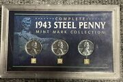 1943 -p, 1943-d, 1943-s Steel Penny Mint Mark Collection