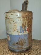 1 Vintage/antique 5 Gallon Mobil Motor Oil Can Few Small Dents