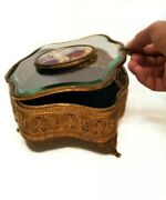 Antique Handcrafted And Painted Brass Porcelain And Glass French Cherub Jewelry Box