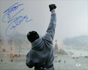 Sylvester Stallone Signed Autographed 16x20 Photo Rocky Fist In Air Psa Aj57603